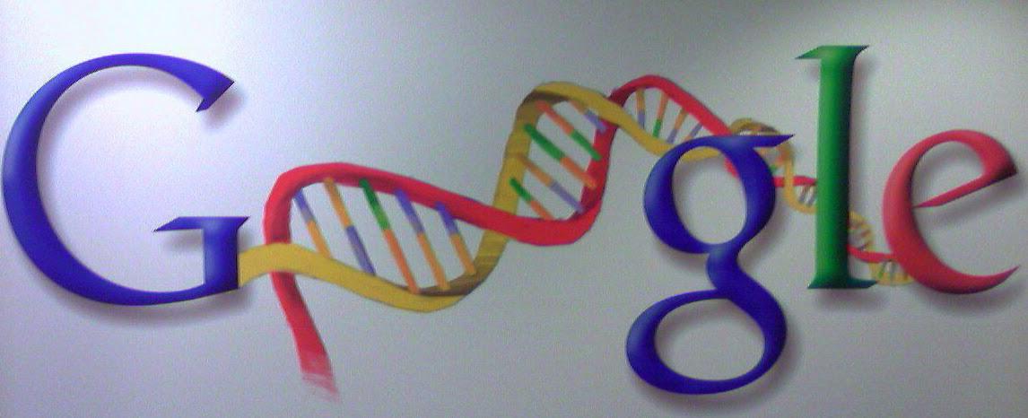 Logo Google che sostituisce le lettere di Google in una spirale di DNA. Grazie alla Google Authorship ogni autore potrà rivendicare la paternità dei propri contenuti