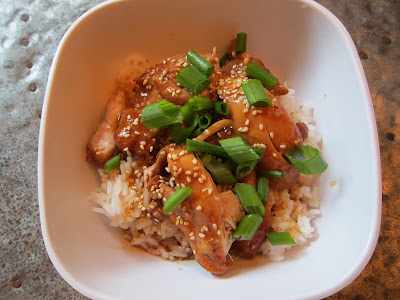 Crockpot Sesame Honey Chicken with rice and scallions
