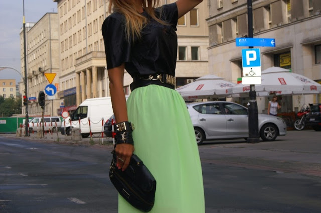 neon skirt  and leather top