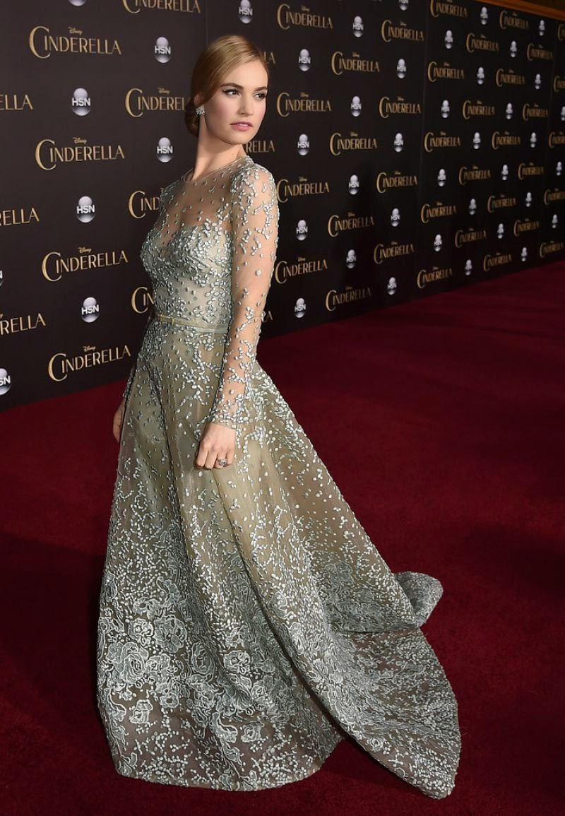 Lily James sparkles in Elie Saab Couture at the 'Cinderella' Hollywood premiere
