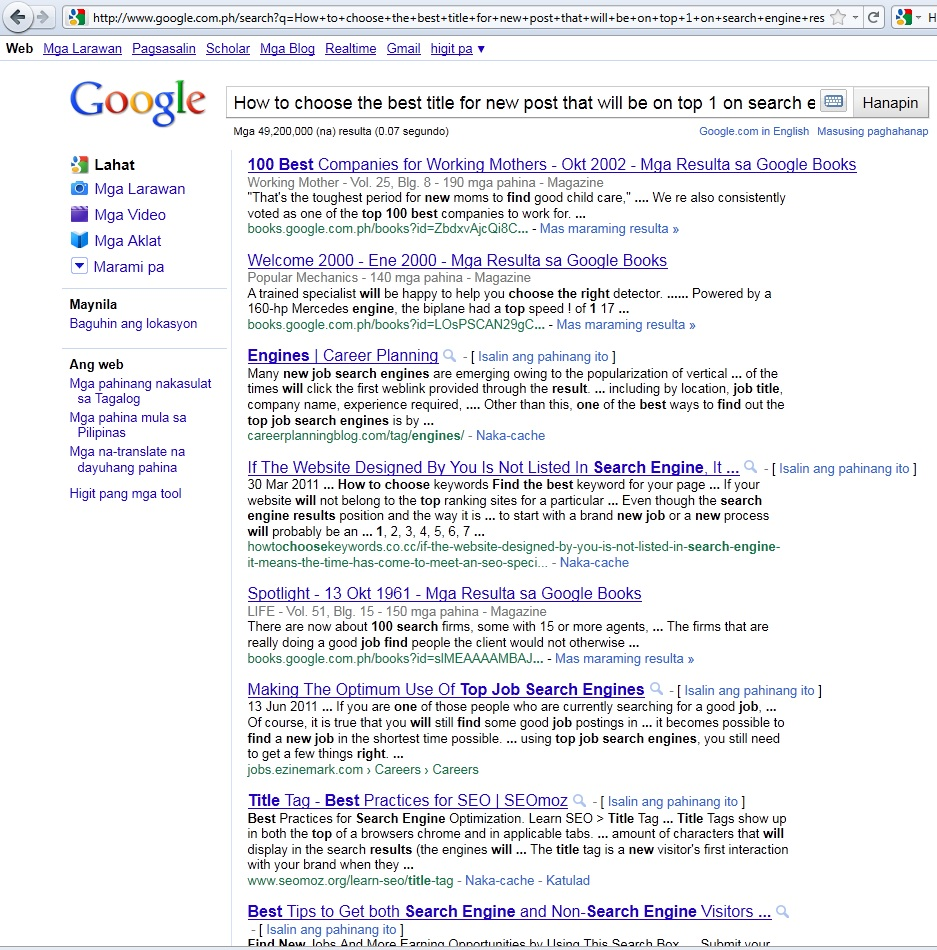 happy blogging in trying to search the title on these 3 search engine you will out what keywords these search engines used out of your drafted title