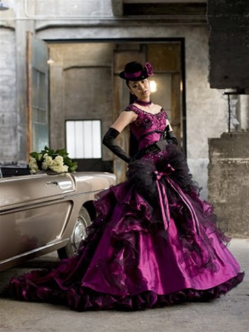 Beautiful Orchid Colored Wedding Dress made with fabulous Taffeta and