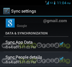 Google Play Store v4.1.6 Sync Option