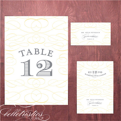 typographic printable diy yellow gray wedding stationery by Belletristics