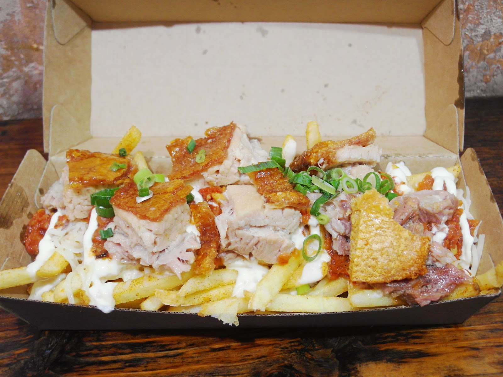 crispy pork nacho fries ($12.00):