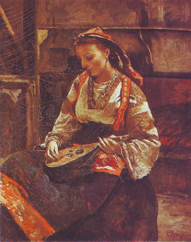 Italienne assise jouant de la mandoline, ca. 1865-70
