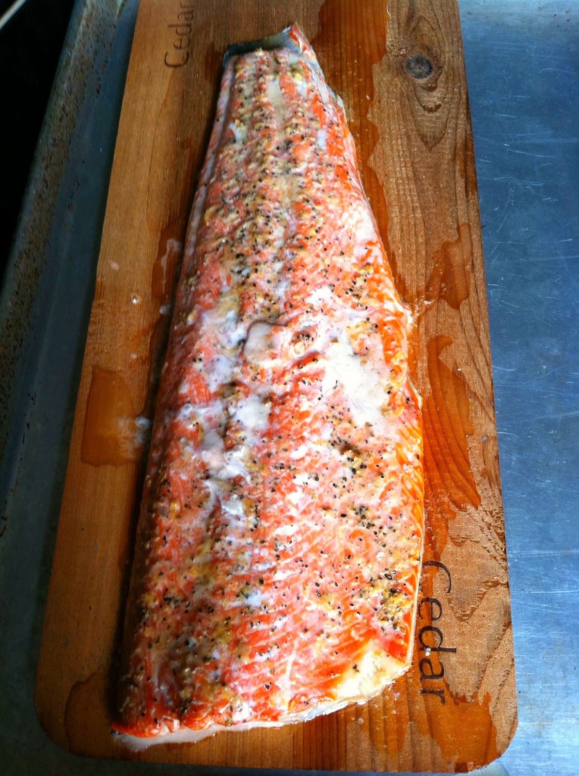 Cedar Plank Salmon With Fresh Lemon Pepper