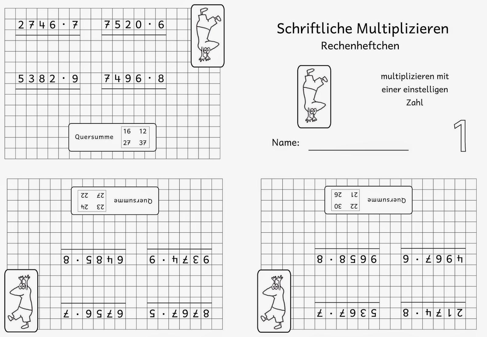 Lernstübchen: Rechenheftchen schriftliche Multiplikation (1)