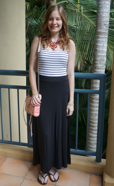 Away From Blue Striped Tank Statement Necklace Black Jersey maxi skirt RM MAC