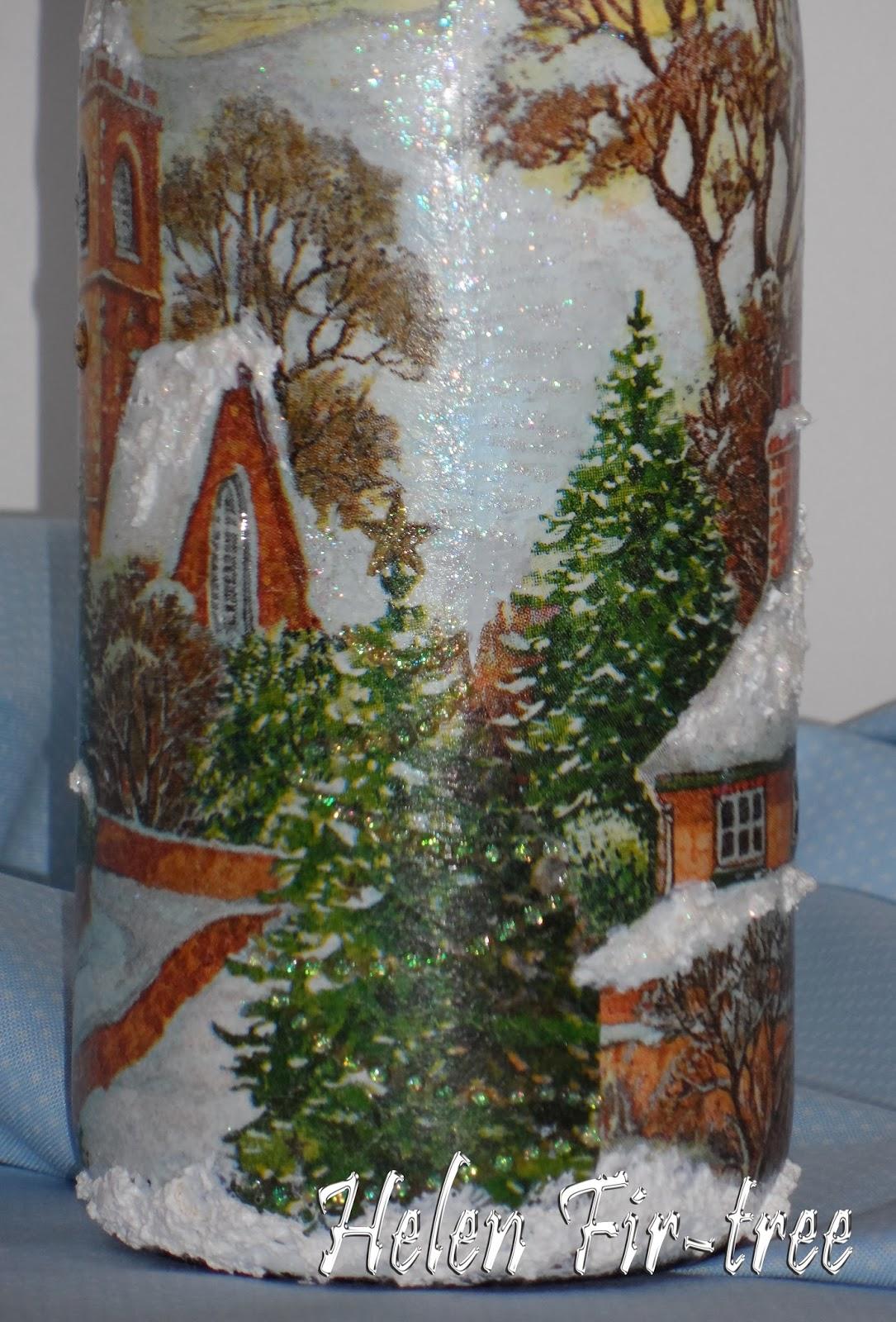 Helen Fir-tree декупаж бутылка Новый год bottle decoupage new Year
