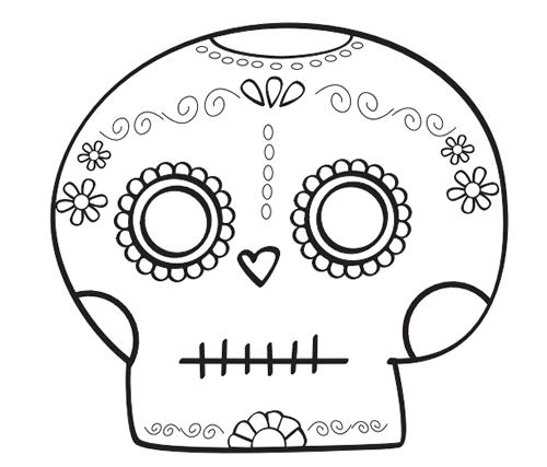 Dibujos para Colorear: Calaveras día de los muertos para colorear