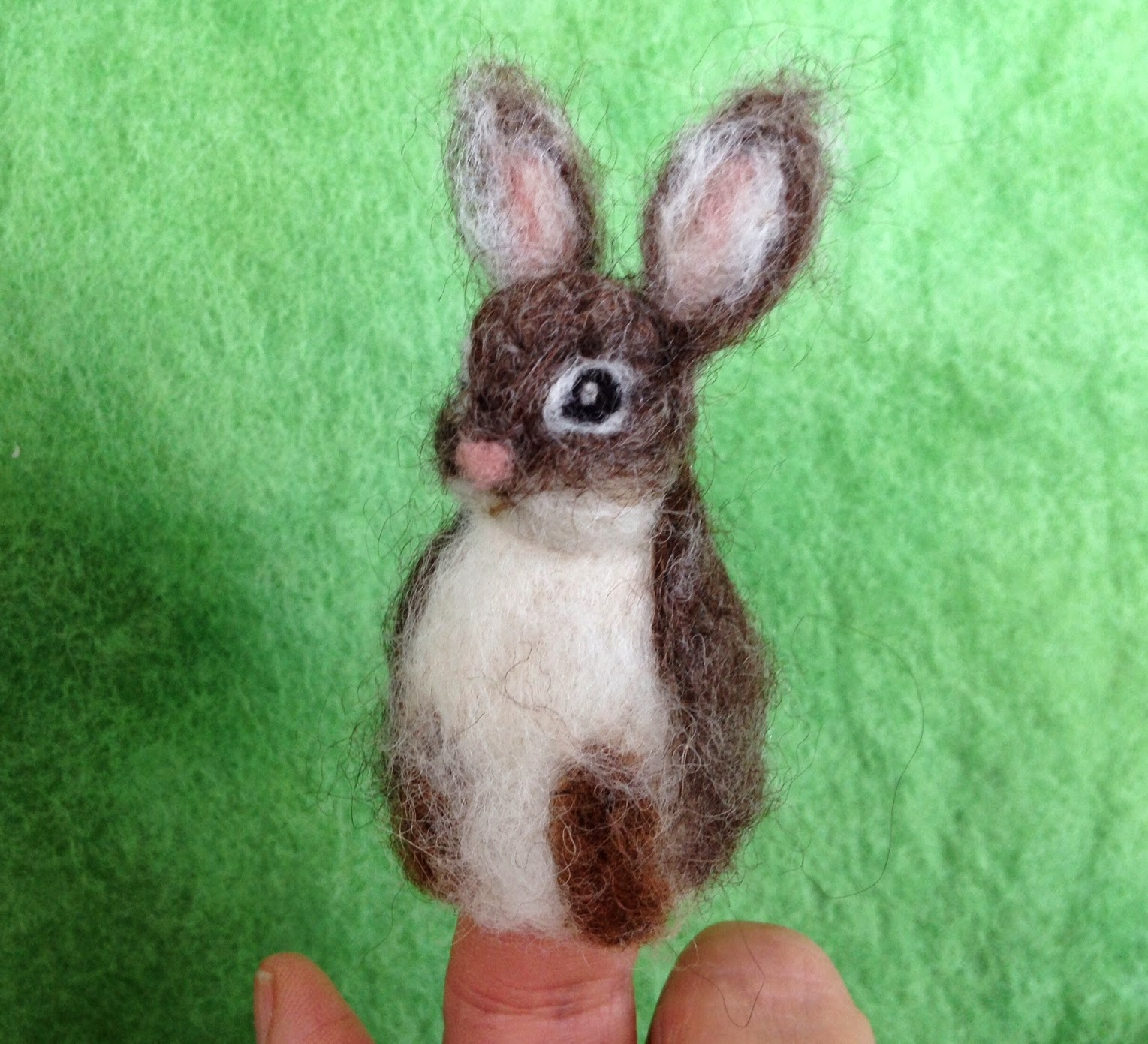 Needle Felted Peter Cottontail Finger Puppet