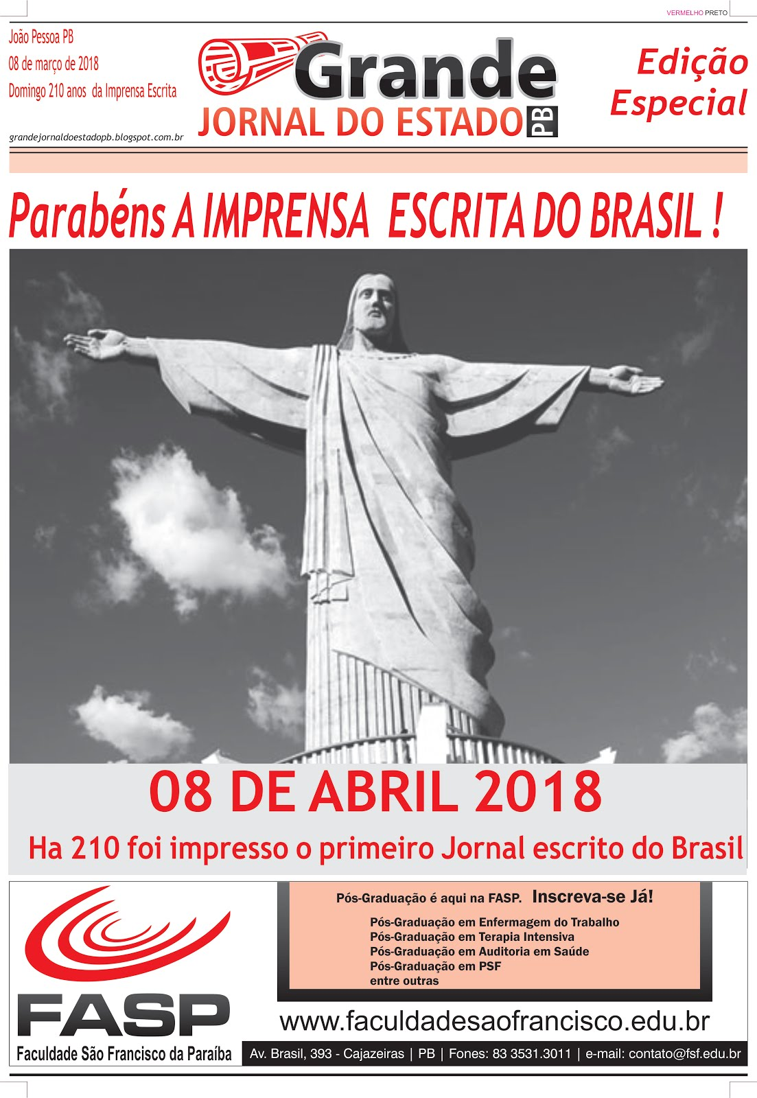 GRANDE JORNAL DO ESTADO PB  NO ANIVERSÁRIO DOS 209 ANOS DA IMPRENSA  ESCRITA DO BRASIL