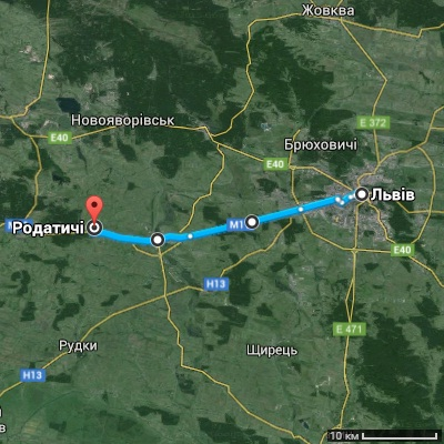 Львів-Родатичі. Карта доїзду.