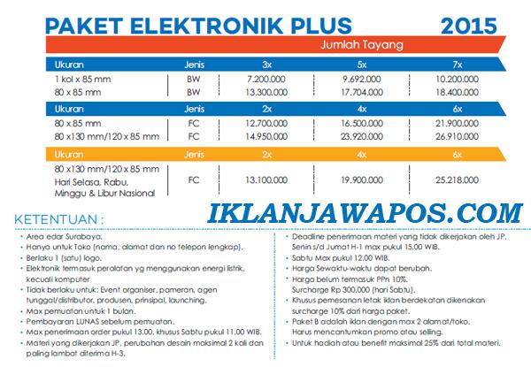 Pasang Iklan Jawa Pos Display Paket Elektronik 2015
