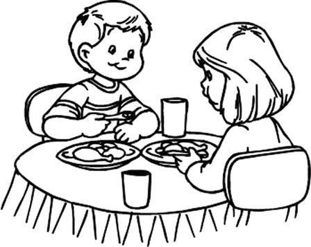 Niños desayunando para colorear - Imagui