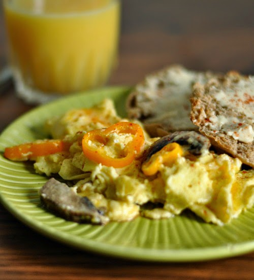 Scrambled Eggs and Veggies // Whole Grain English Muffin with Laughing Cow Cream Cheese