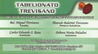 TABELIONATO TREVISANO TABELIÃO DE NOTAS E DE PROTESTO DE LETRAS E TÍTULOS DE CONCHAS