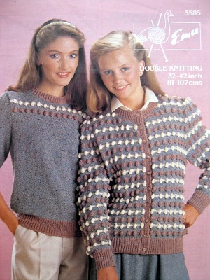 80s knitting pattern for bobble jumper and cardigan by Emu