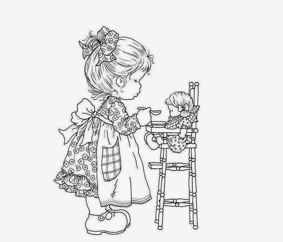 Cute Little Baby play With Toy Coloring Drawing Free wallpaper