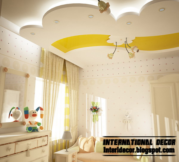 best creative kids room ceilings design ideas cool false ceiling with led lights