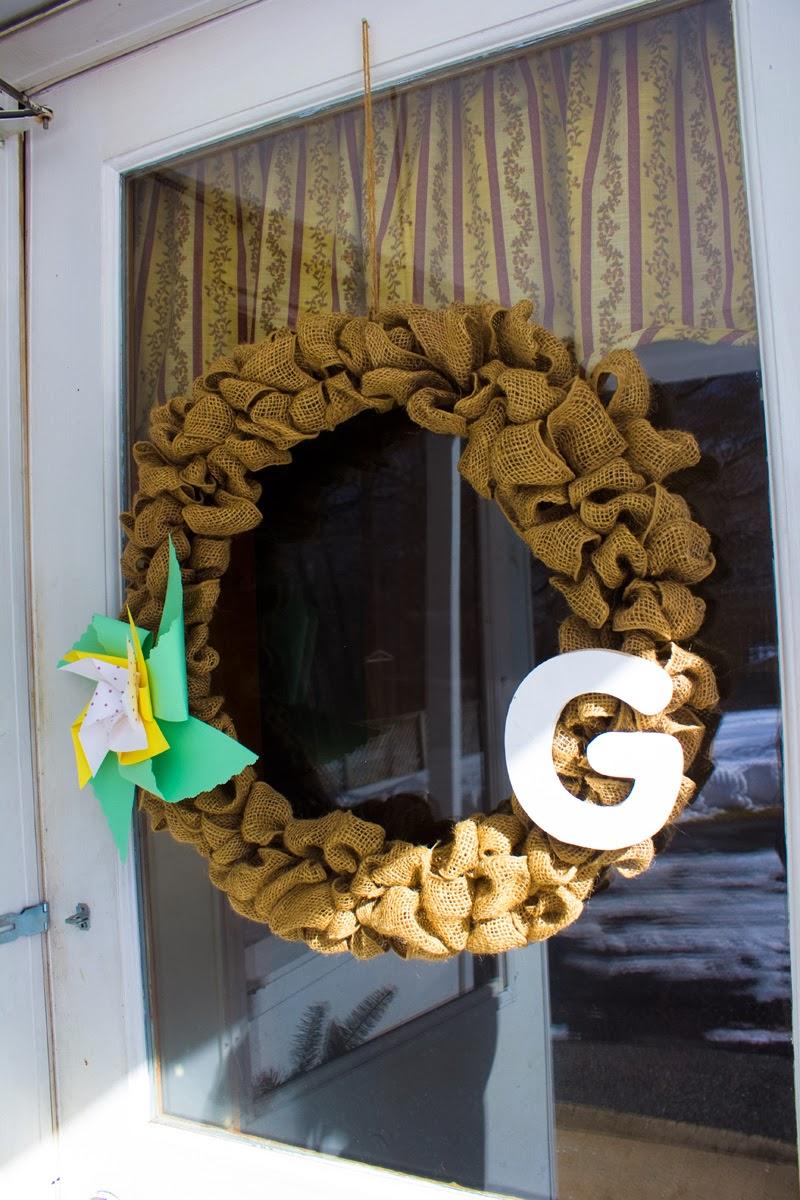 Pinwheel on a wreath.