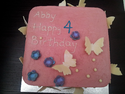 Birthday cake, butterfly, raspberry buttercream