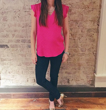 kate spade flutter top, pink kate spade tank top, brooke street denim, kate spade jeans, gold karolinas, kate spade watch, grammercy watch, nashville blogger, style blogger, nashville street style
