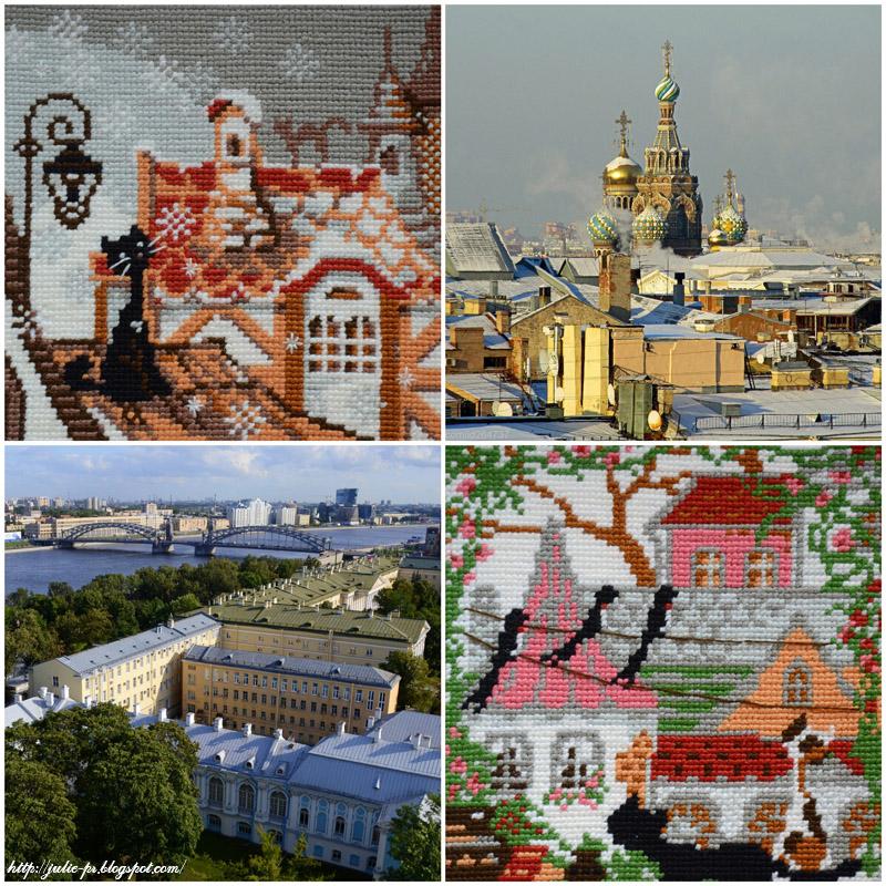 Riolis, город и кошки, подушка, вышивка крестом, крыши Петербурга