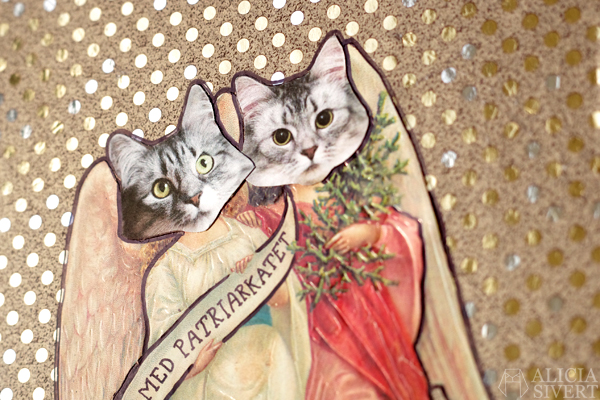 """""""Ner med patriarkatet"""" (""""Down with the patriarchy"""") cat collage by Alicia Sivertsson, 2015. Alicia Sivert aliciasivert katt kollage bokmärke bokmärken bokmärkesänglar ängel änglavingar vingar katter tofslan och vifslan katten klipp och klistra skapa skapande kreativitet creativity create do it yourself diy glitter guld gold krossa patriarkatet smash the patriarchy, feminism, feminist, feministiskt"""