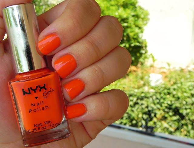 nyx, fruity punch, swatch, nail polish, orange,