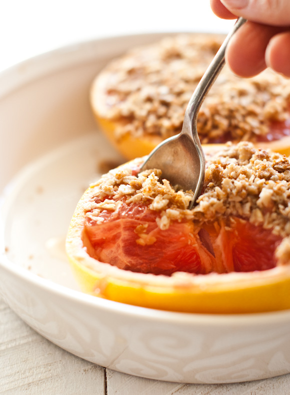 Baked Grapefruit with Coconutty Crumble