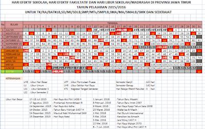 Kalender Pendidikan tahun pelajaran 2015/2016 Jawa Timur