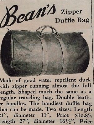 Duffle Bag LL Bean Freeport Maine Canvas Duck 1963 Preppy Made In USA