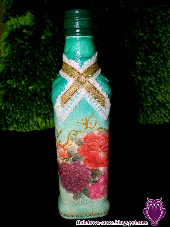 Rose bottle decoupage