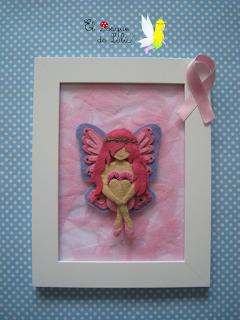 cuadro-fieltro-decoración-elbosquedelulu-hechoamanoparati-subastarosa-solidario-contra-cancer-pink-hada-mariposa