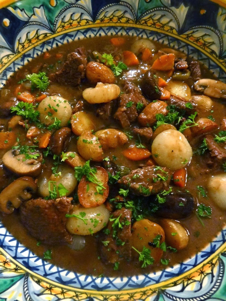 Scrumpdillyicious: Braised Beef & Mushroom Stew with Cipollini Onions