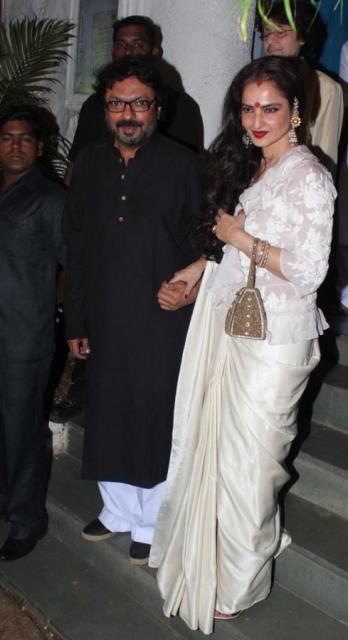 Rekha at Sanjay Leela Bhansali's birthday bash!