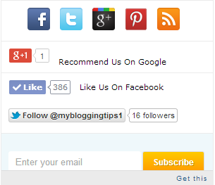 Stylish Social Subscription Widgets for Blogger