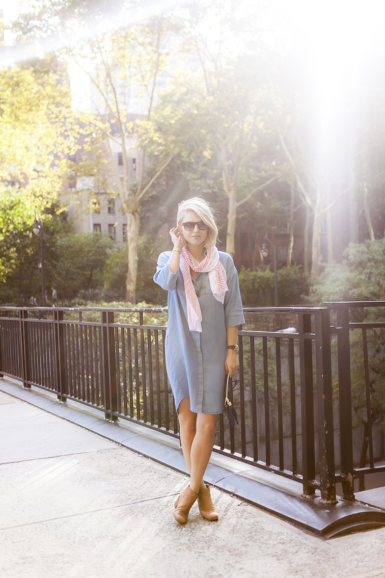 Tudo City overpass, golden hour, late summer sunshine, COS chambray shirtdress, Rachel Comey Mars boots