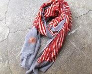 code promo foulard rouge rayé laine