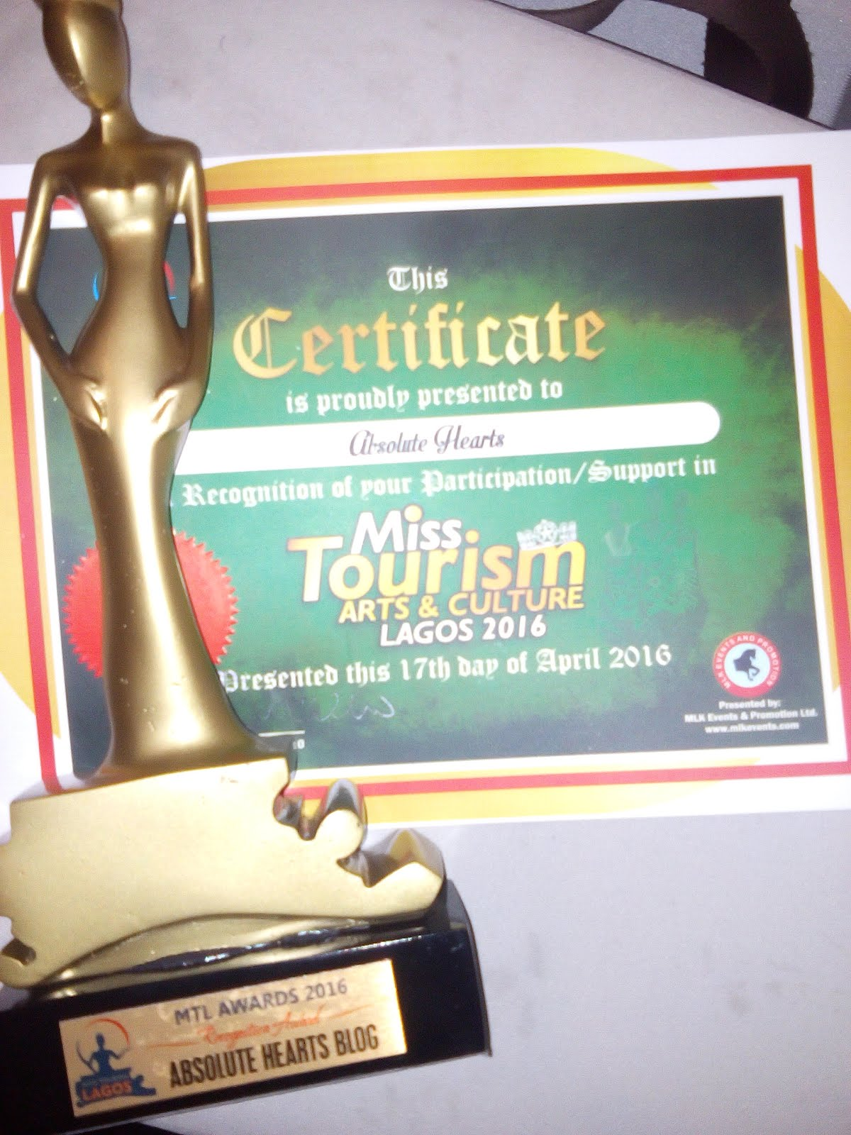 Absolute Hearts bags Award & Certificate of Excellence