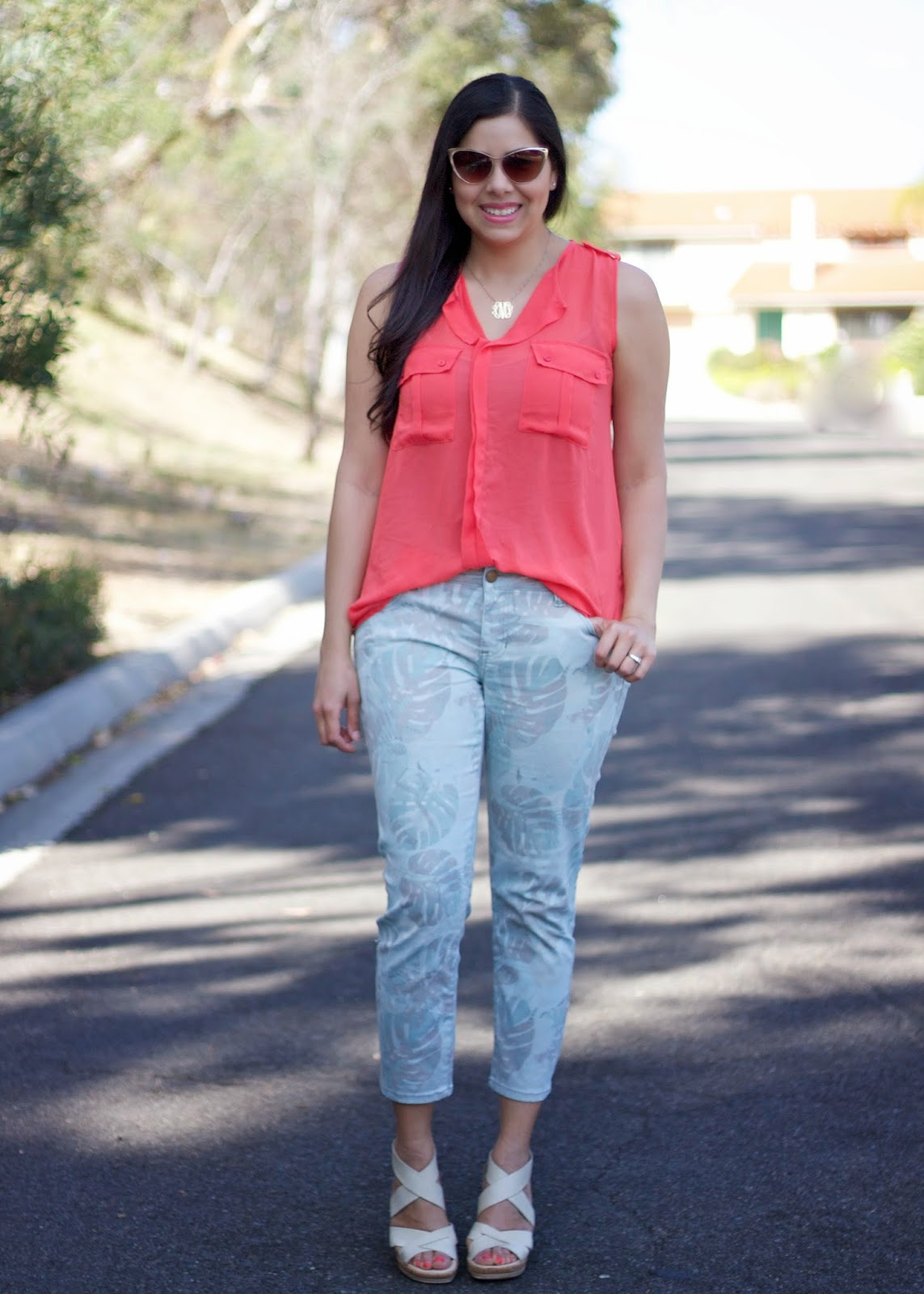 Coral and Green Outfit, Palm Tree Skinny Jeans, beige aldo wedge sandals, what to wear this summer 2015