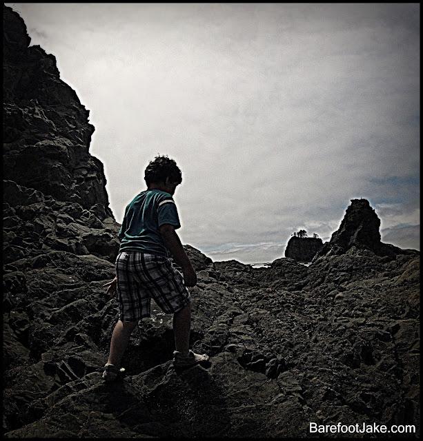kid hiking olympic coast