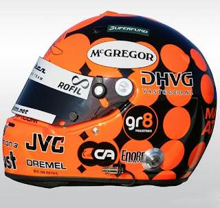 Il casco dell'olandese Christijan Albers, all'epoca della Spyker