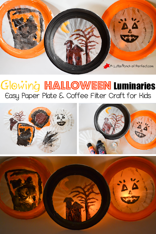 Glowing Halloween Luminaries (made from Paper Plates). Tutorial from A Little Pinch of Perfection