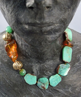Turquoise and amber necklace by Barbara Acton-Bond