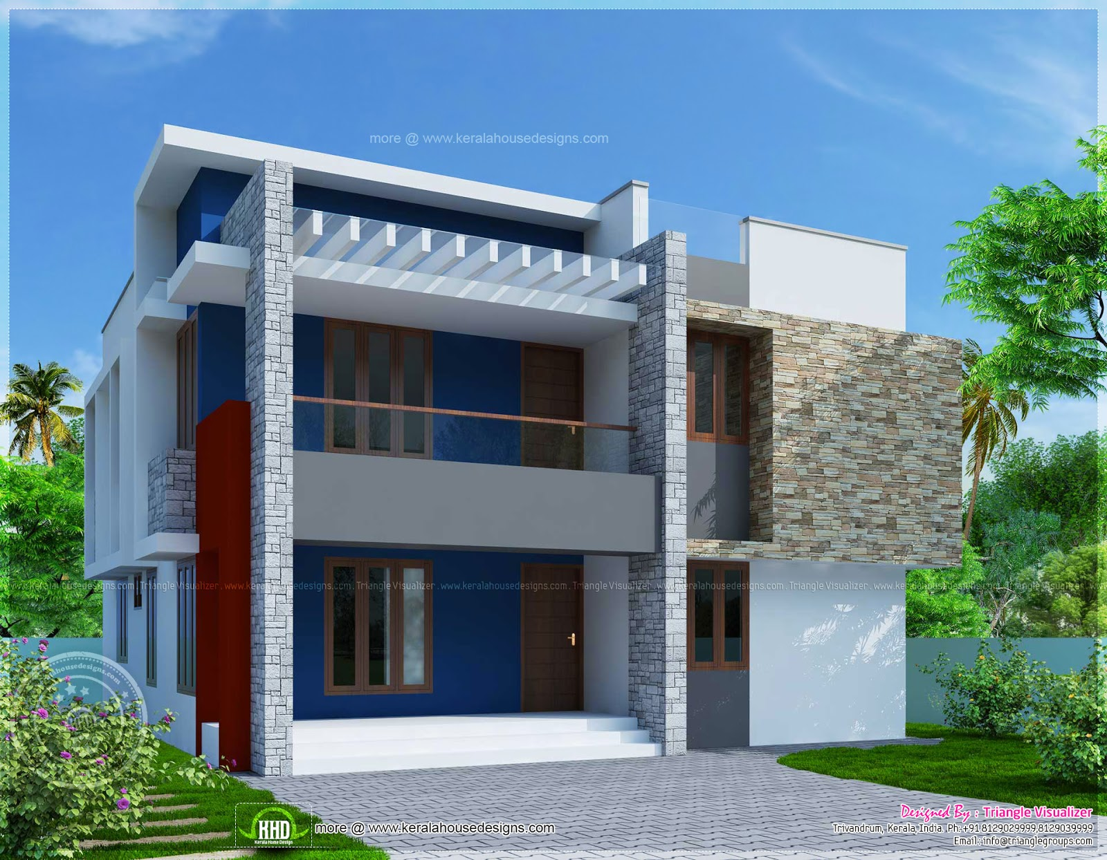 Simple two storied house elevation in 2290 sq feet home for Picture of simple house