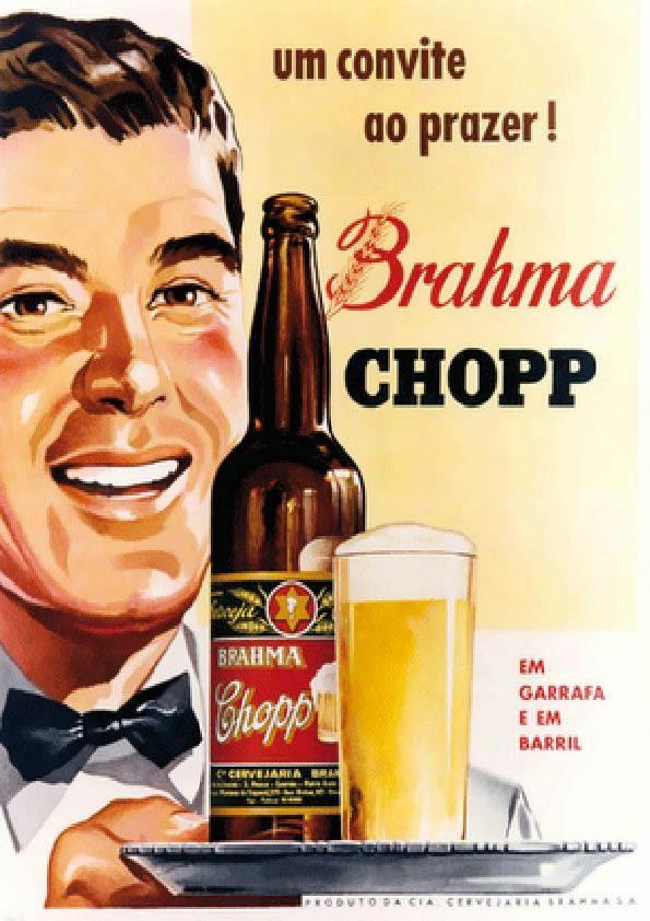 Propaganda da Brahma Chopp, com produção gráfica a base de desenho.