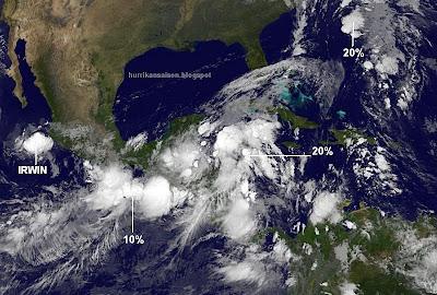 Allgemeine Situation am 14. Oktober 2011, Satellitenbild Satellitenbilder, Yucatán, Cancún, Pazifik, Atlantik, Irwin, Banyan, Belize, Guatemala, Vietnam, Oktober, aktuell, 2011, Hurrikansaison 2011, Taifunsaison,